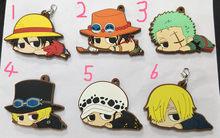 Fiugre-Llavero colgante de goma para teléfono móvil, 6 estilos, figura de acción de One Piece, modelo Anime, Luffy, Ace, Zoro, Sabo, Sanji Law, escolar, 6cm