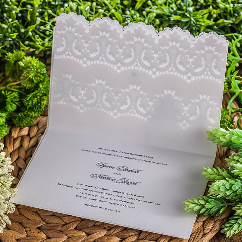 50pcs/pack Laser Cut Wedding Invitations Cards Elegant Invitation Card Free Print Party Supplies with Envelopes and Seals 50pcs gold red laser cut hollow flower marriage wedding invitation cards 3d card greeting cards postcard event party supplies