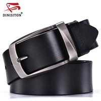 DINISITON Alloy Pin Buckle Belts Cowhide Belt Man Genuine Leather High Quality Vintage Jeans Belt Cinturones