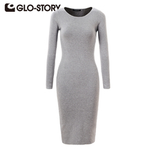 GLO-STORY Для женщин Платье-свитер 2017 Элегантный шик с длинным рукавом вязаное платье Sexy Party Bodycon Платья-свитеры 2616