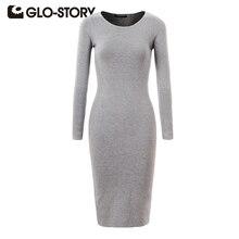 GLO-STORY Brand Women Dress 2017 Chic Fashion Long Sleeve T-shirt Dress Sexy Party Bodycon Sweater Midi Dresses WMY-2616