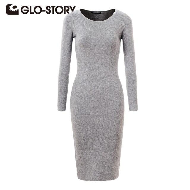 GLO-STORY Women Sweater Dress 2018 Elegant Chic Long Sleeve Knit Dress Sexy Party Bodycon Sweater Dresses WMY-2616