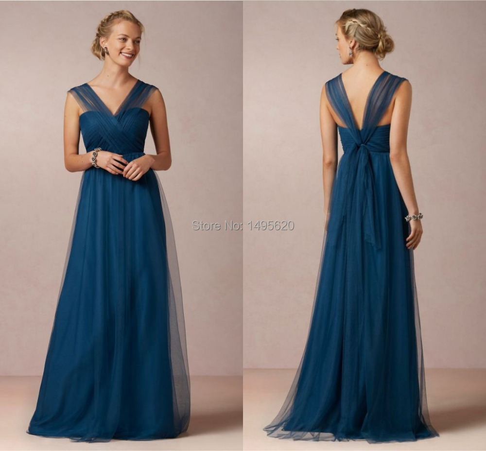 Online get cheap blue bridesmaid dresses with straps aliexpress bridesmaid dress lapis blue tulle with straps floor length elegant navy blue bridesmaid maid of honor ombrellifo Image collections