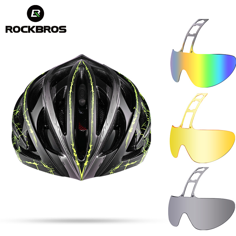 ROCKBROS Bicycle Helmet Bike Goggle Helmet Polarized Bicycle 3 Lens Helmets Men Women Cycling Helmets MTB Visor Head Protector