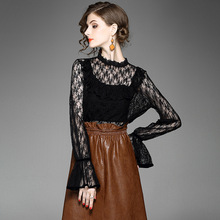 Solid lace primer shirt 2017 new brand runway fashion top quality full butterfly sleeve office lady lace shirt