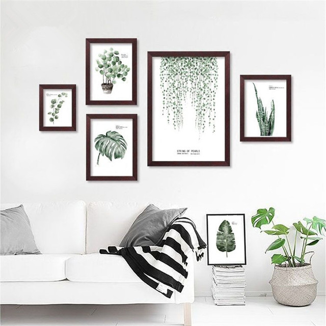 Nordic Green Plant Leafs Wall canvas painting posters prints wall art  pictures for living room Modern