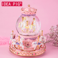 2019 Merry go round music boxes Geometric Music baby room decorationChristmas Gifts Unisex Resin Horse Carousel Box home decor