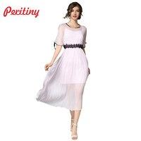 Peritiny 2 pezzo Summer Dress Donne Eleganti Vestiti Lunghi Rosa una Linea Manica Corta Chiffon Robe Anno Nuovo Partito Del Merletto vestidos