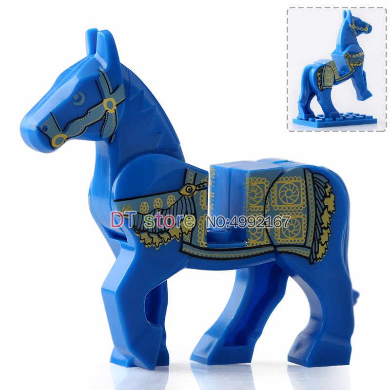 Venta única Medieval Señor de los anillos Castillo sillín caballo de guerra negro bloques de construcción ladrillos juguetes AX9822 AX9821