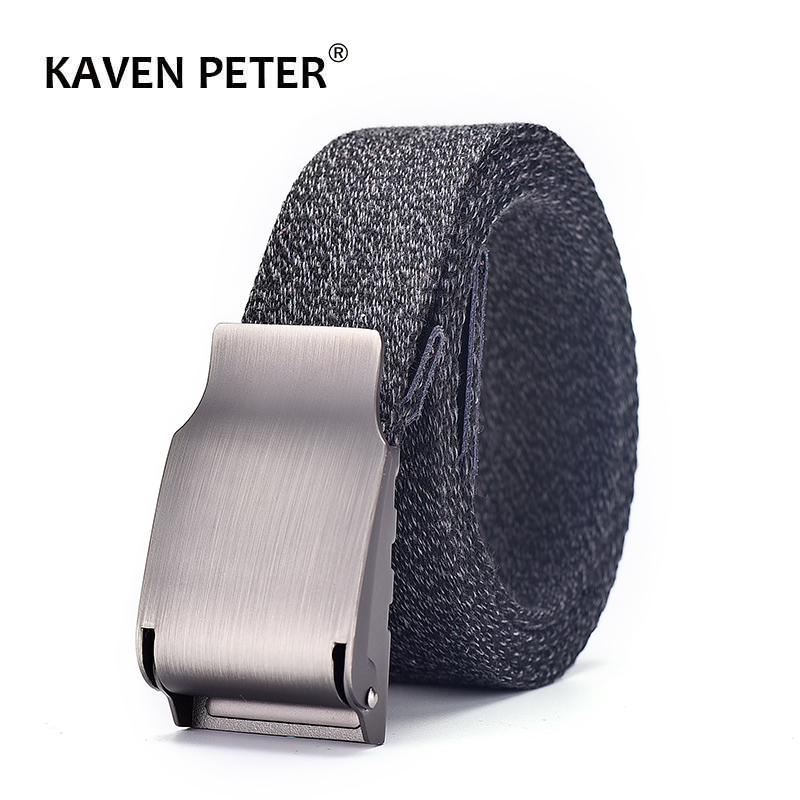 Male Canvas Leather Belt Casual Cotton Weave Tactical Belts For Men 3.8 Cm Automatic Buckle Cinturones Para Hombre 100-160 CM