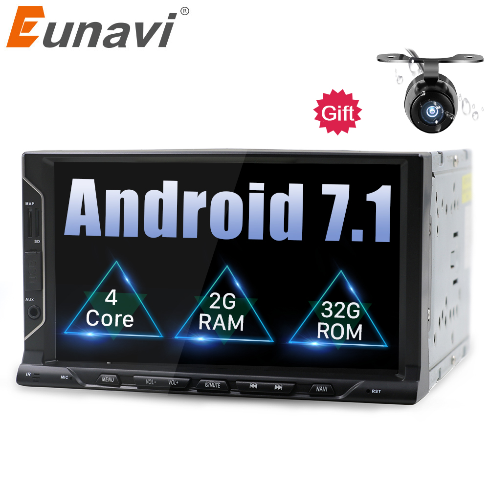 Eunavi 2 din 7 inch android 7.1 Universal Car Player for juke qashqai almera x trail note X-TRAIL sentra for Nissan GPS+2din+OBD cawanerl car sealing strip kit weatherstrip rubber seal edging trim anti noise for nissan almera march micra note pixo platina
