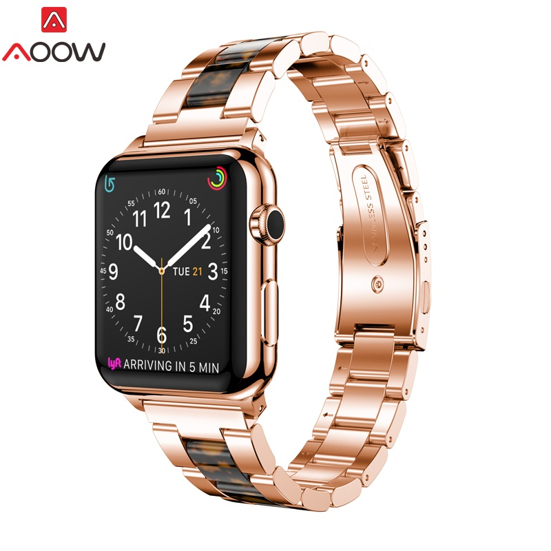 AOOW Luxury Watchband Replacement Band Strap for iwatch 1 2 3 4 Stainless Steel Resin 38mm 42mm Watchband For Apple Watch цена