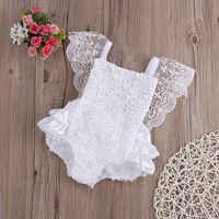 Cotton Bow Cute White Baby Girl Romper Cake Sunsuit Outfits 0-18M Rompers Infant Baby Girl Clothes Lace Floral Ruffles Tirred
