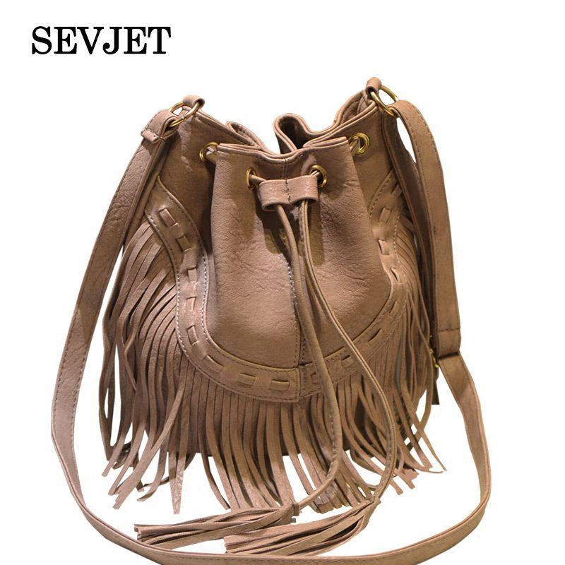 Fashion Ladies Hand Bag Solid Bucket Bolsa Feminina Tassel Leather Women Shoulder Bags Crossbody Bag For Women Luxury CJ484 1