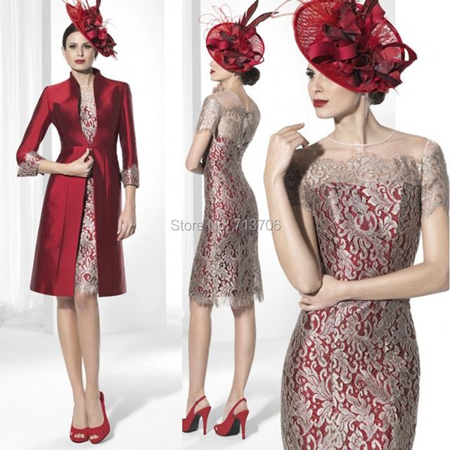 SML1281 vestido mae da noiva Charme bainha Laço de Cetim Na Altura Do Joelho comprimento Duas peças 2017 mãe dos vestidos de noiva com casaco