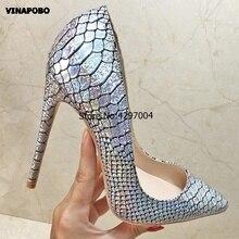 אופנה נעלי אישה עקבים גבוהים משאבות פגיון עקבים גבוהים כסף נחש מודפס סקסי נשים נעלי חתונה נעלי קלאסי נעלי עקבים
