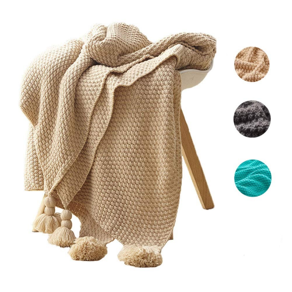 Battilo Knit Rustic Home Decor Bedding Blanket Cotton Cable Throw Blankets for Sofa and Couch, 51x67 Inch