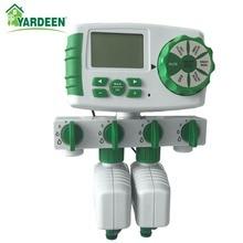 Jardin automatique 4 zones d'irrigation système de minuterie d'arrosage minuterie d'eau de jardin y compris 2 électrovanne