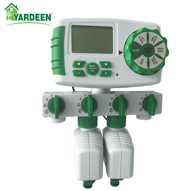 Garden Automatic 4-Zone Irrigation Watering Timer System  Garden Water Timer Including 2 Solenoid Valve