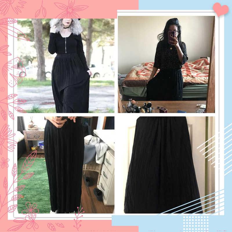 4d6df068bd ... Dotfashion Black Crinkle Elastic Waist Full Length Skirt Womens  Clothing 2019 Fashion Autumn Casual Plain Pleated