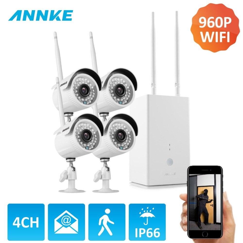 ANNKE Беспроводной Wi-Fi 4CH P2P HD 130 Вт 960 P NVR 960 P Открытый Всепогодный Смарт ИК Камера видео CCTV охранных Камера Системы