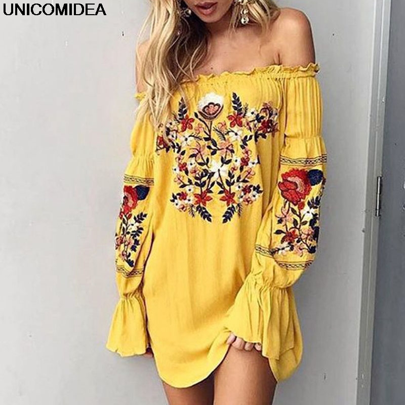 Women Beach Sexy Slash Neck Off Shoulder Embroidery Flower Floral Casual Dress Long Sleeve Cotton Yellow Short Mini Dress outfits para playa mujer 2019