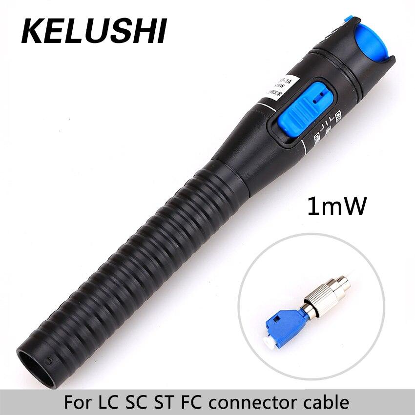 KELUSHI 1mW 1~5km Plastic Fiber Optic Visual Fault Locator Red Laser Light Souce Cable Tester 2.5mm LC/FC/SC/ST Adapter for CATV