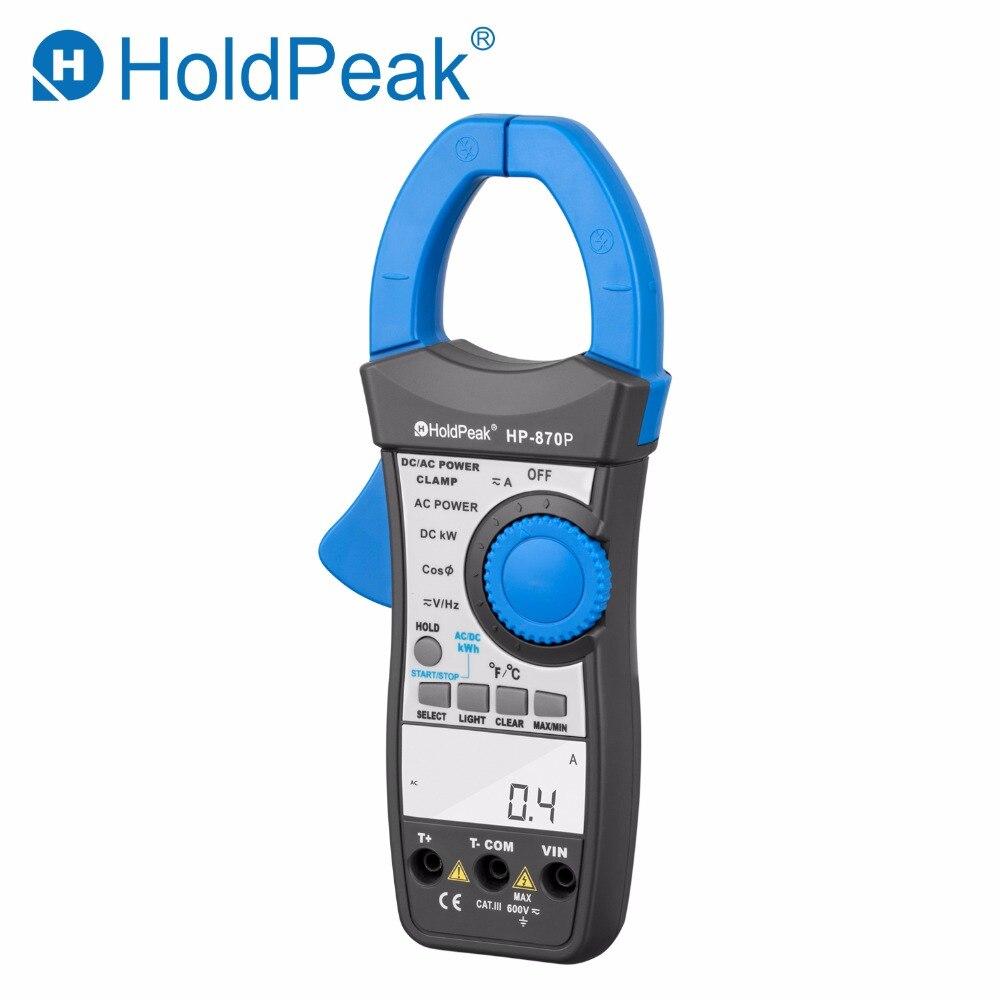 HoldPeak HP-870P мощность клещи AC/DC Вольтметр 999.9A Амперметр тестер электронный мультиметр активная энергия диагностический инструмент