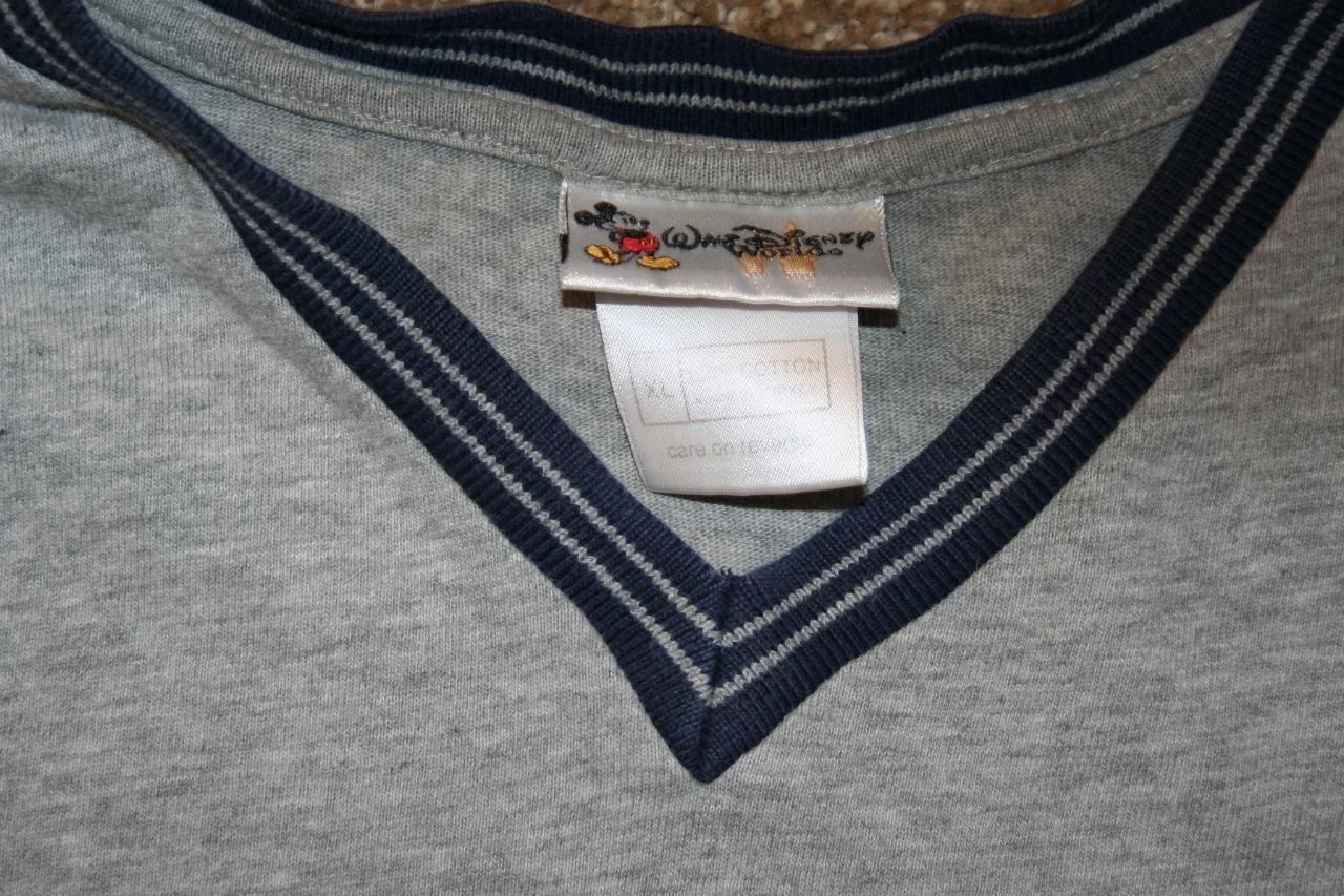 "HTB1 JmVc6bguuRkHFrdxh6.LFXaQ - DISNEY Mickey Mouse T-Shirt XL Gray V-Neck Chest 48"" S/S Shirt Mens"