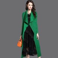 Issey Miyake Women's Fashion Pleated Long Windbreaker Turn Down Collar Open Cardigan Black Green gray red Khaki Clothing