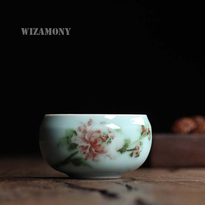 Chinese Rare Longquan Top Grade Celadon Peony Teacup  Bowl 50ml For Art Collection By senior artist and craftsman gift package plywood