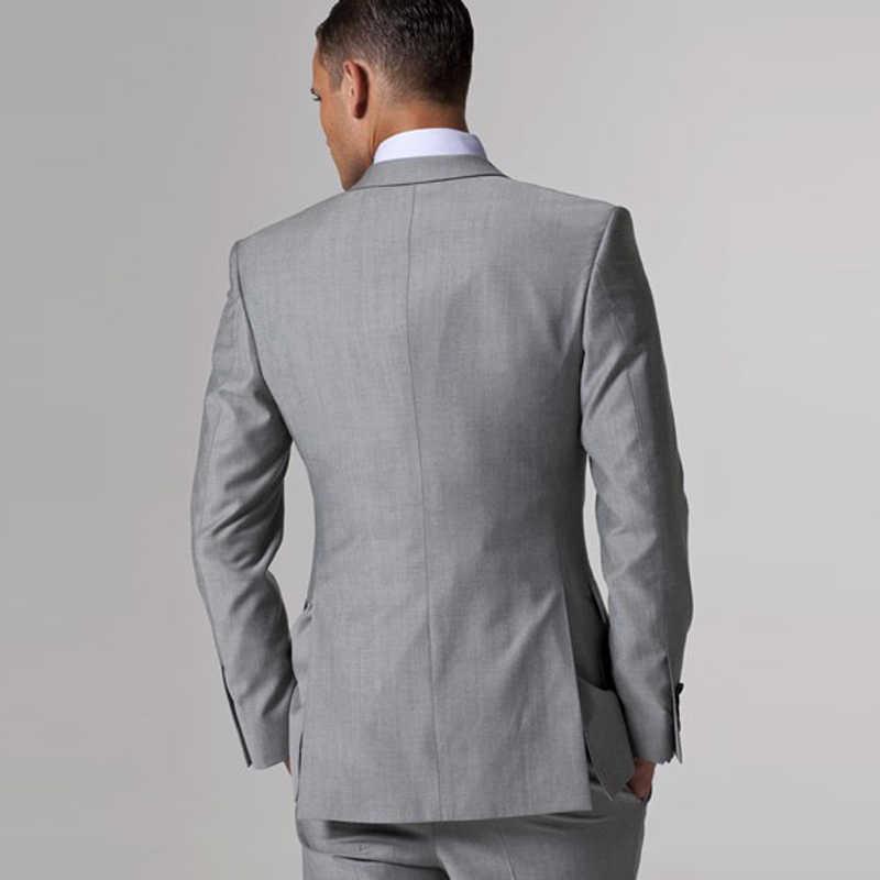 カスタムメイドグレー男性のウェディングドレス2018タキシード新郎正式なスーツメンズ3ピース(ジャケット+ベスト+パンツ)結婚式の男性スーツドレス