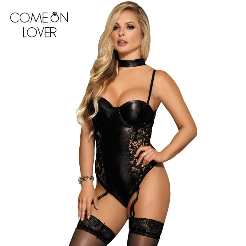 Comeonlover Halter black faux leather bodysuit women underwire plus size 5XL backless bodysuit sexy roupas femininas 2018 R80384