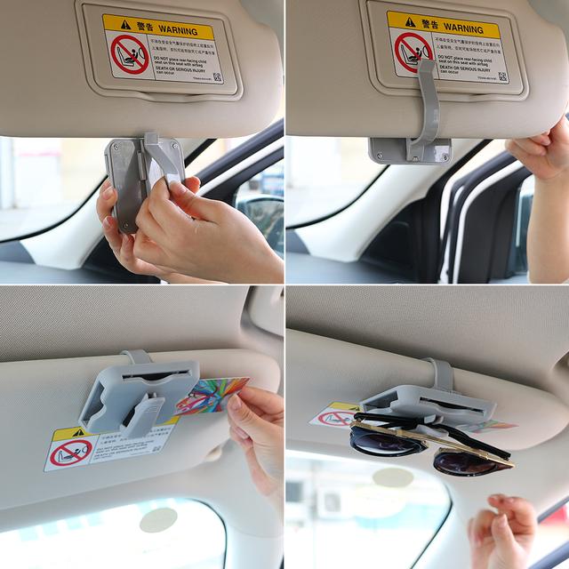 Car-styling Car Glasses Case Sun Visor Clip Sunglasses Holder High-speed Card Clip Car Organizer Universal Interior Accessories