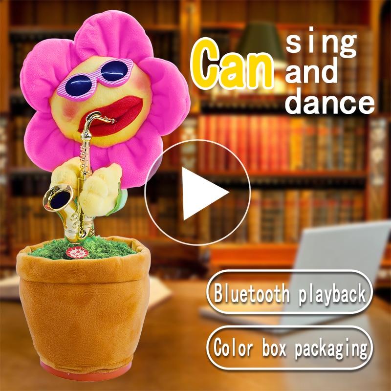Creative Saxophone Electric Plush Beautiful Funny Sing Dancing Enchanting Sunflower Hot Toys for Kids