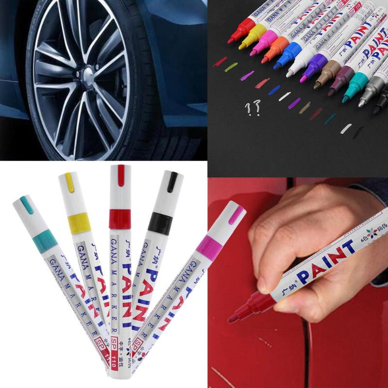 Colorful Waterproof <font><b>Car</b></font> <font><b>Wheel</b></font> Tire Oily Mark Pen Auto Rubber Tyre Tread CD Metal Permanent Paint Marker Graffiti Marcador New image