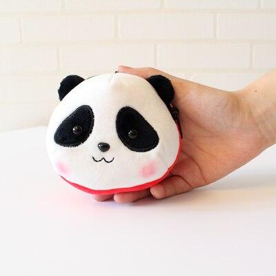 Кошелек для монет голова панды брелоки милые животные плюшевые женские сумки очаровательные аксессуары Подвеска мини кошелек брелок этнический подарок - Цвет: Красный