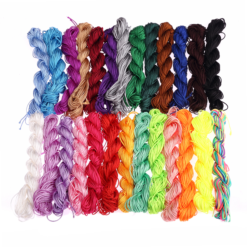26m/roll nylon knot cords woven therad 16 colors DIY bracelet rope ...