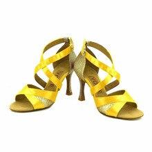 YOVE Dance Shoe Satin Women's Latin/ Salsa Dance Shoes 3.5″ Flare High Heel More Color w145-7