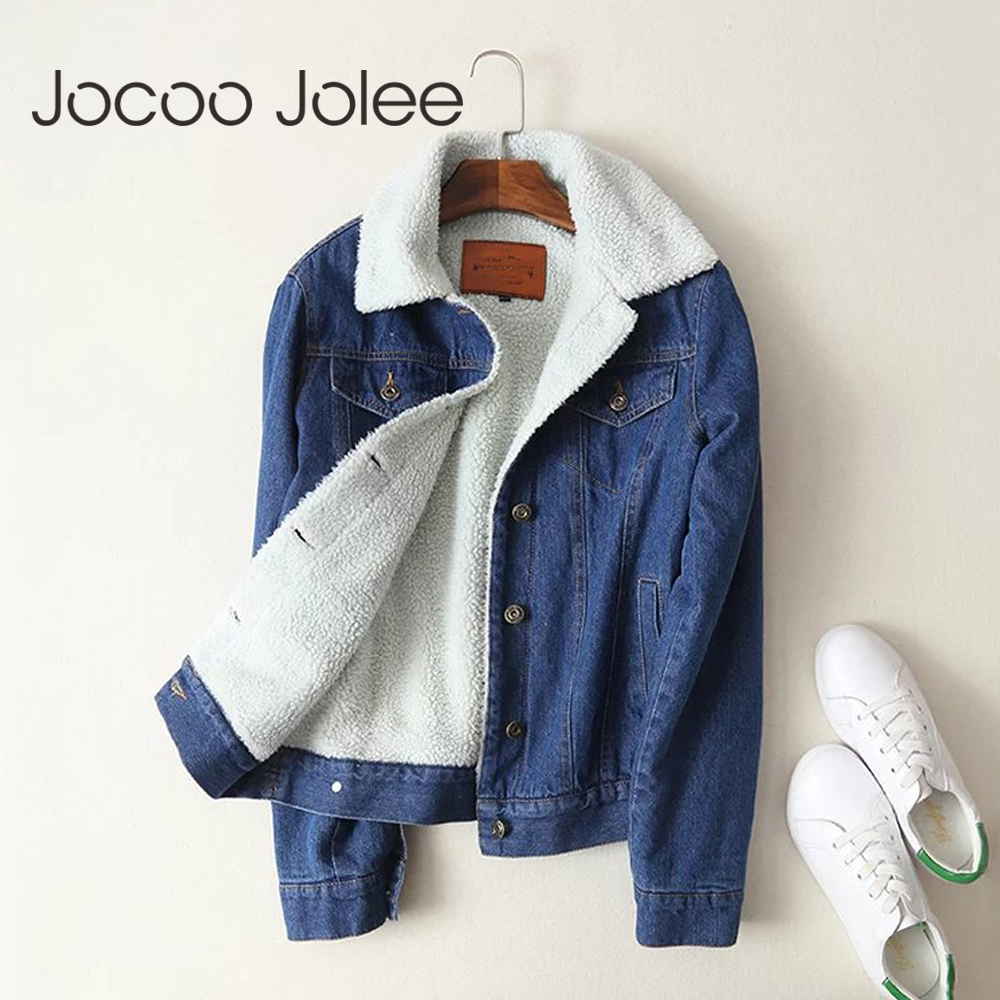 Jocoo Jolee Autumn Winter New Fashion Denim Winter   Jackets   Women Casual Fur   Basic     Jackets   Loose Warm Top Female Parka Outerwear