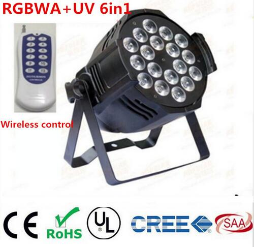 Wireless remote control 18x18W RGBWA UV 6in1 LED Par led spotlight dj projector wash lighting stage light DMX light