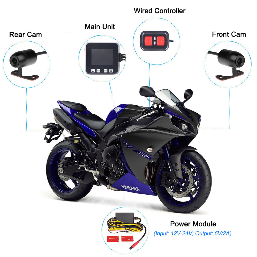 Image 3 - SYS VSYS C6 Dual Motorcycle Action Camera Recorder DVR Front and Rear View Waterproof Motorcycle Dash Cam Black Night Vision Box-in DVR/Dash Camera from Automobiles & Motorcycles