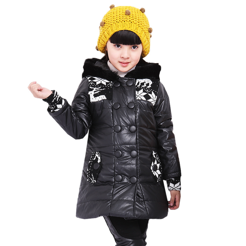 Kids Jackets Hooded Leather Girls Winter Coat Warm Down Parkas Cotton Long Section 2017 New Arrival Children Winter Outwear endever costa 1055 кофемолка
