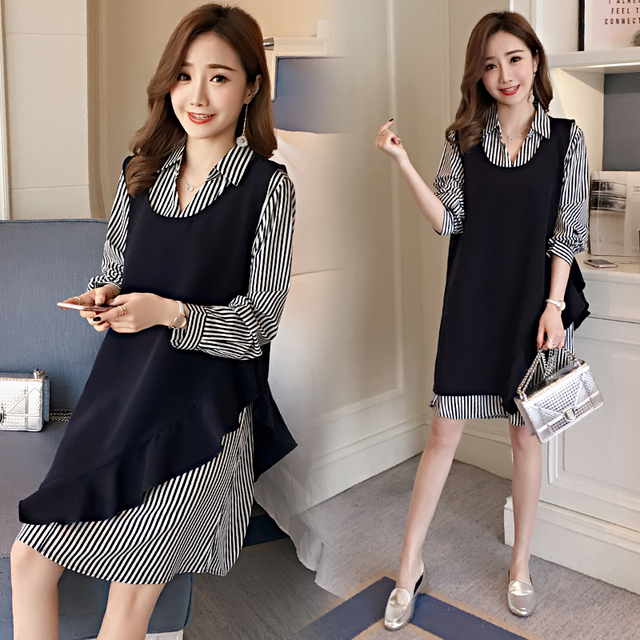 3b0758560df44 Two Pieces Striped Maternity Clothes Brief Pregnancy Dress Cotton Long  Sleeve Maternity Clothing Of Pregnant Women Spring