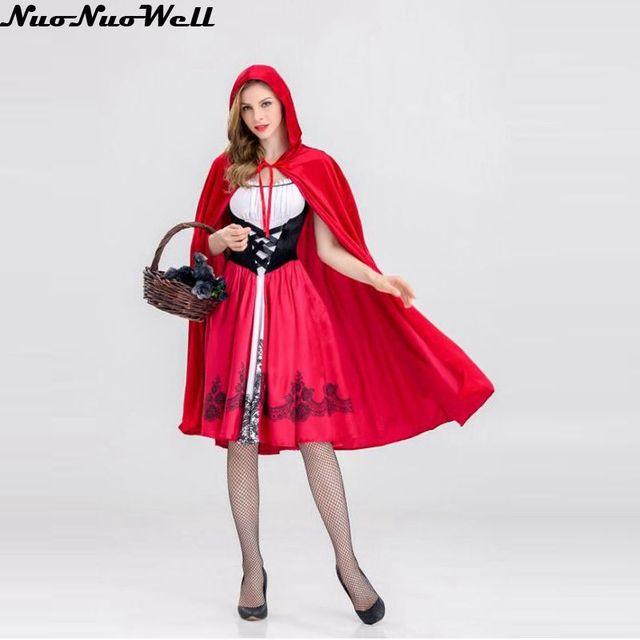 d4e95e2a80a65 Hot sexy vestido tamaño S m L XL traje adulto Caperucita Roja disfraz  Halloween princesa Cosplay