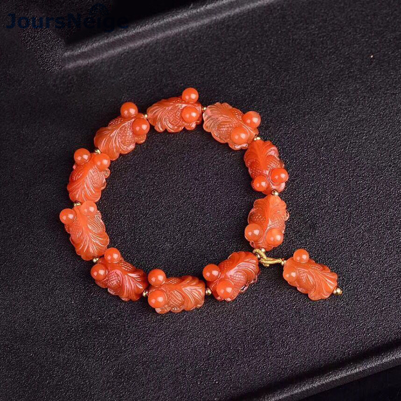 Fine Red Natural Crystal Bracelets Caved Blessing Fish Beads Bracelet Lucky for Women Wrist Bracelets Crystal Fashion Jewelry magic fish bracelets