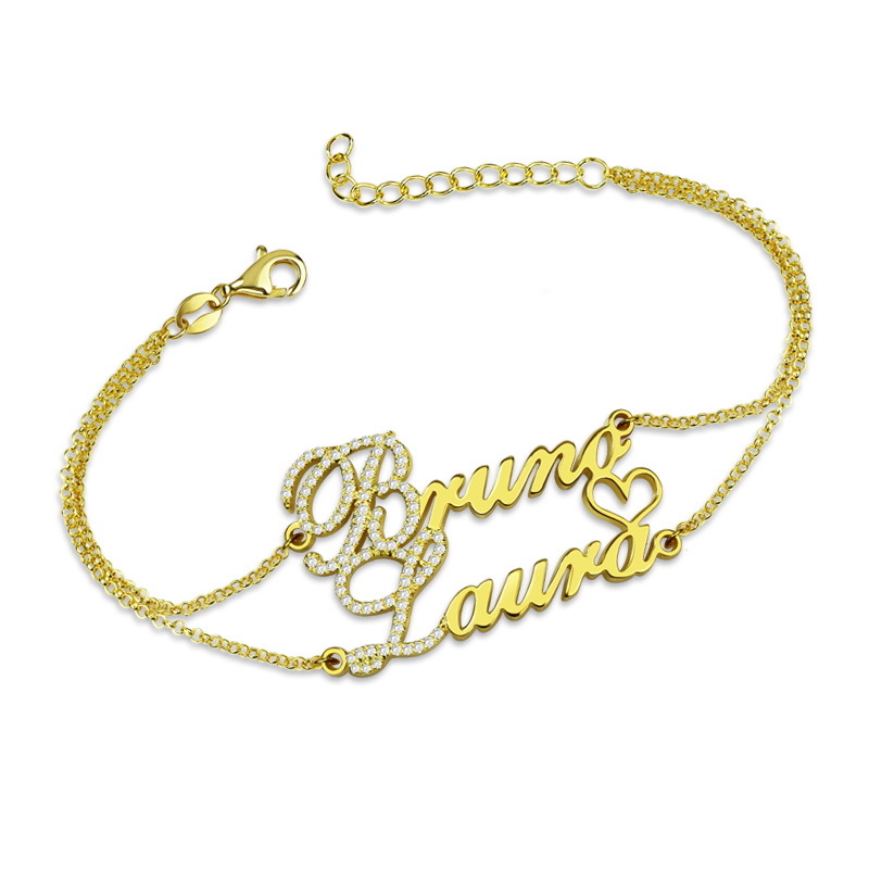 AILIN Personalized Two Names Bracelet with Birthstones Gold Color Double Chain Couple's Bracelet silver infinity names bracelet personalized 2 names bracelet infinity bracelet mother s bracelet custom sister gift