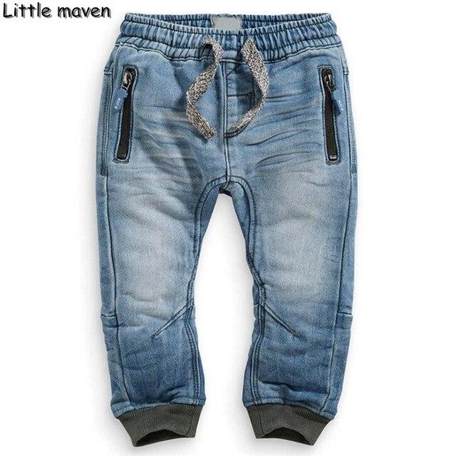 Мало maven 2016 зима детская марка брюки 2-7 год сплошной синий стиль моды молния мальчиков/девушки Джинсы NZ005