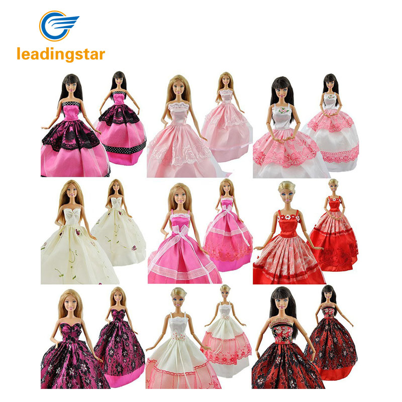 LeadingStar 5 Pcs/lot Fashion Handmade Clothes Dresses Grows Outfit for Barbie Doll dress for girls Random Types and Colors zk5