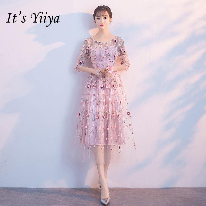 It's YiiYa New Pink Mesh Embroidery   Prom     Dresses   Elegant O-neck Evening Gown JLM008